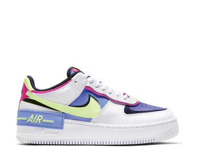 Nike Air Force 1 Shadow White / Barely Volt - Sapphire - Fire Pink CJ1641-100