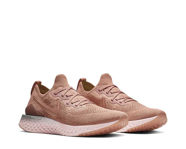 nike epic react flyknit 2 rose gold & barely rose