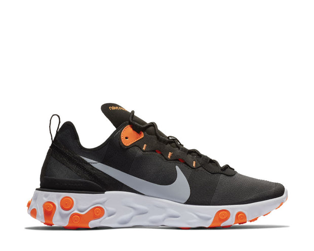 Nike React Element 55 Black Wolf Grey Total Orange White BQ6166 006