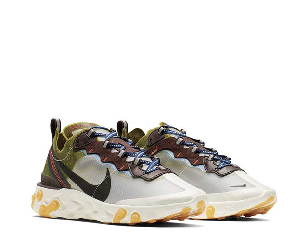 Nike React Element 87 Moss Black El Dorado Deep Royal Blue AQ1090-300