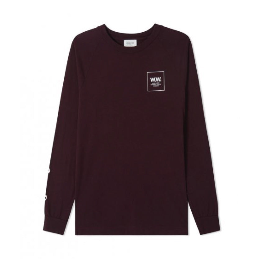 Wood Wood Han Long Sleeve Burgundy 11835413-2334