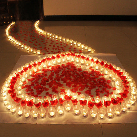Heart Candles Light with Rose-Leaf Cup