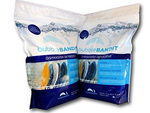 2 Pack (7.5 lbs.) Bubble Bandit Dishwasher Detergent With Natural Phosphate