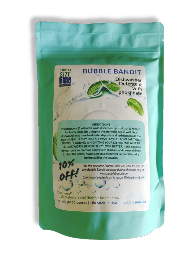 SAMPLER SIZE- Bubble Bandit Dishwasher Detergent with Phosphates. 16 wash cycles in a 1 lb bag
