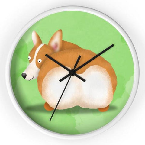 Fluffy Butt Pembroke Corgi Clock