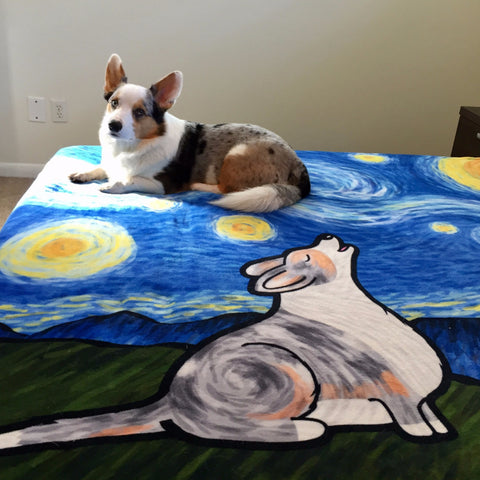 Starry Baroo Fleece Corgi Blanket