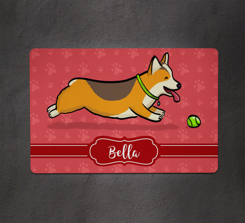 Personalized Corgi Pet Bowl Mat - Ball is Life