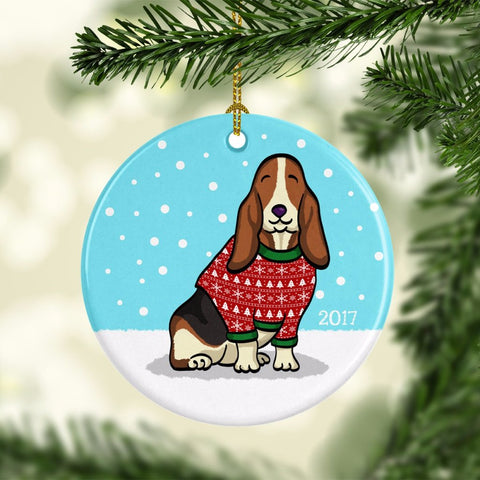 2017 Basset Hound Ugly Sweater Ornament