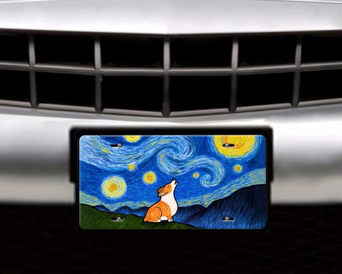 Starry Baroo Corgi License Plate - Pembroke and Cardigan Corgis