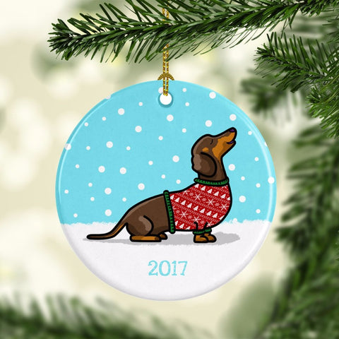 2017 Dachshund Ugly Sweater Ornament