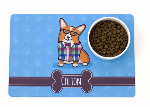 Personalized Corgi Pet Bowl Mat - CorGeek