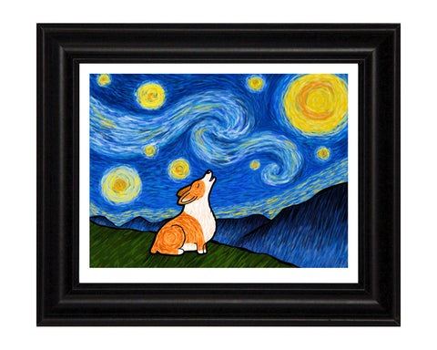 Starry Baroo Corgi Signed Print - My Dog Is My Co-Pilot