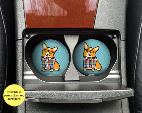 Corgeek Car Coasters - Pembroke and Cardigan Corgis - Set of 2