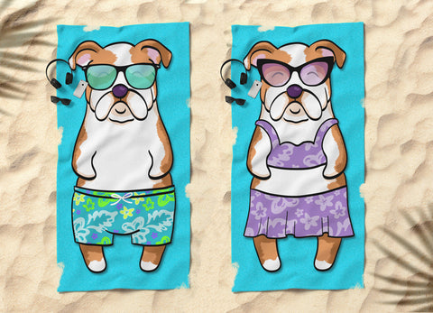 Sunbathing English Bulldogs Beach Towels