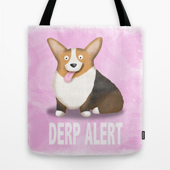 Red Tri Color Corgi Tote Bag - Derp - My Dog Is My Co-Pilot