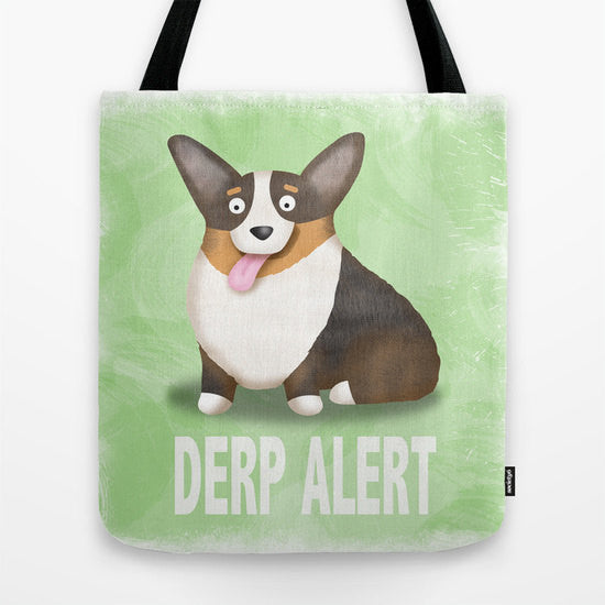 Black Tri Color Corgi Tote Bag - Derp - My Dog Is My Co-Pilot