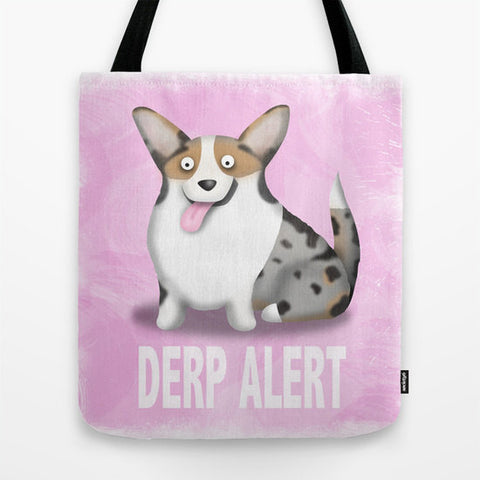 Cardigan Welsh Corgi Tote Bag - Blue Merle Derp - My Dog Is My Co-Pilot