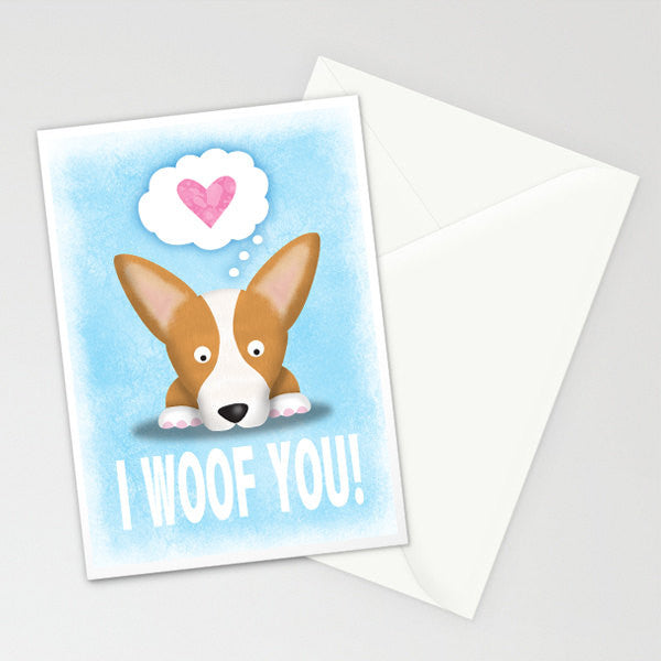 Corgi Card - Red Tri Color I Woof You - My Dog Is My Co-Pilot