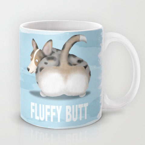 Blue Merle Cardigan Corgi Fluffy Butt Coffee Mug - My Dog Is My Co-Pilot