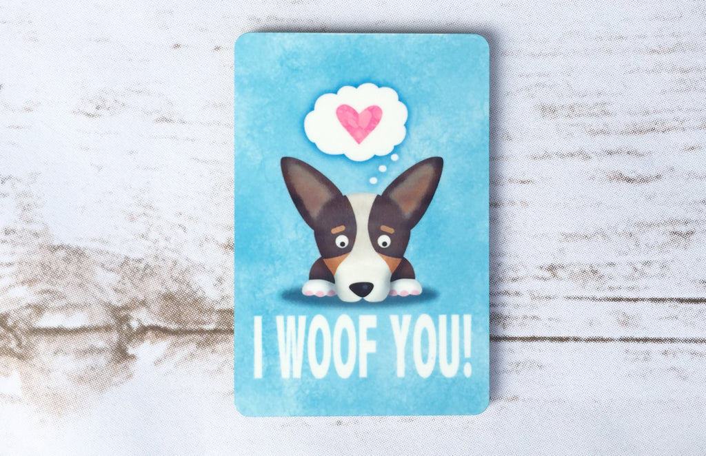 Corgi Magnet - Black Headed Tri Color - I Woof You - My Dog Is My Co-Pilot