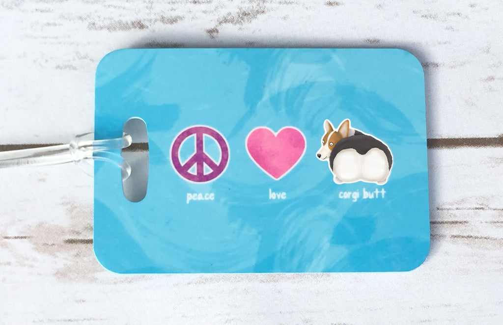 Personalized Red Tri Color Corgi Luggage Tag - Peace, Love, Corgi Butt - My Dog Is My Co-Pilot