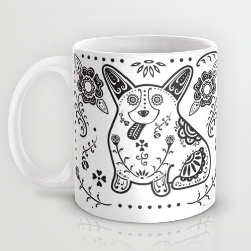 Sugar Skull Corgi Mug - My Dog Is My Co-Pilot