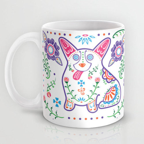 Color Sugar Skull Corgi Mug - My Dog Is My Co-Pilot
