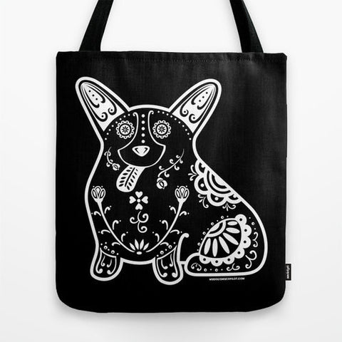 Black and White Sugar Skull Corgi Tote Bag - My Dog Is My Co-Pilot