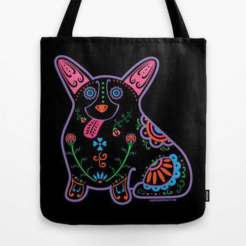 Color Sugar Skull Corgi Tote Bag - My Dog Is My Co-Pilot