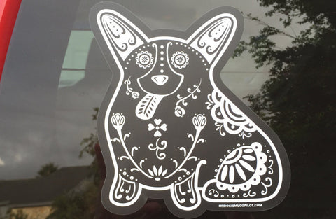 Sugar Skull Corgi Decal - My Dog Is My Co-Pilot