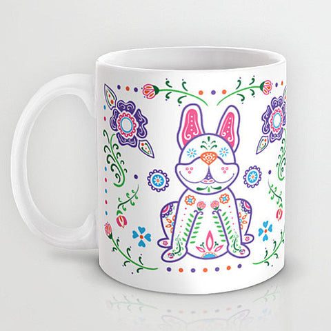 Color Sugar Skull French Bulldog Mug - My Dog Is My Co-Pilot