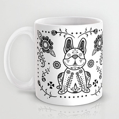 Sugar Skull French Bulldog Mug - My Dog Is My Co-Pilot