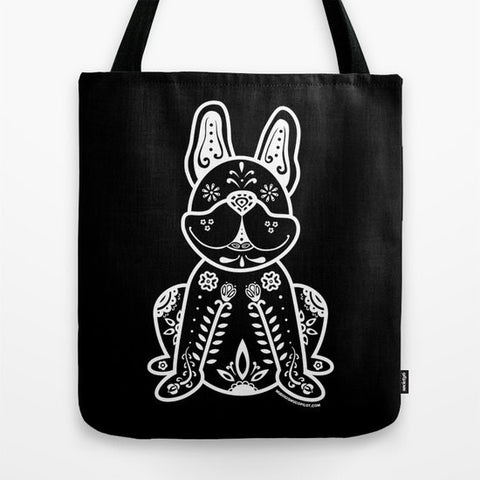 Sugar Skull Frenchie Tote Bag - My Dog Is My Co-Pilot