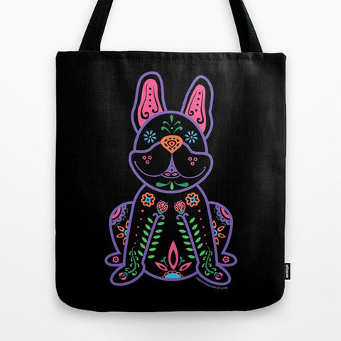 Color Sugar Skull Frenchie Tote Bag - My Dog Is My Co-Pilot
