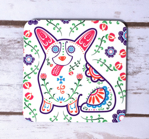 Sugar Skull Corgi Coasters - Set of 4 - My Dog Is My Co-Pilot