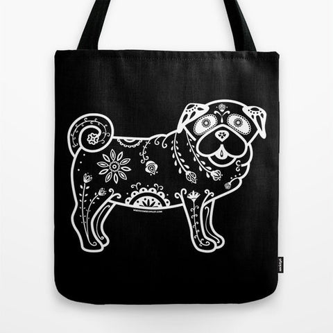 Black and White Sugar Skull Pug Tote Bag - My Dog Is My Co-Pilot