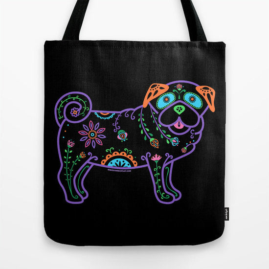 Color Sugar Skull Pug Tote Bag - My Dog Is My Co-Pilot