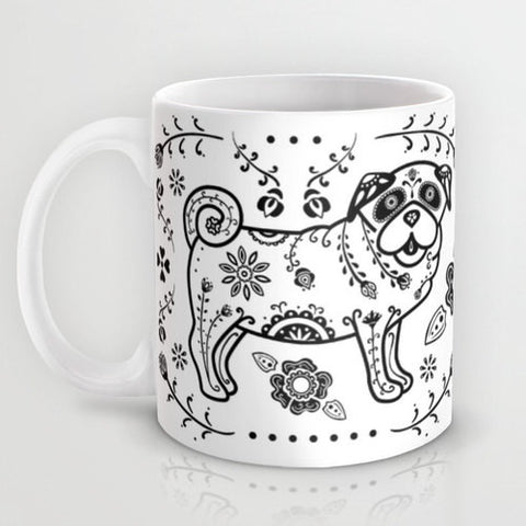 Black and White Sugar Skull Pug Mug - My Dog Is My Co-Pilot