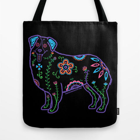 Color Sugar Skull Australian Shepherd Tote Bag - My Dog Is My Co-Pilot