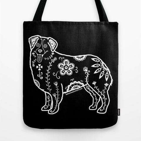 Sugar Skull Australian Shepherd Tote Bag - My Dog Is My Co-Pilot