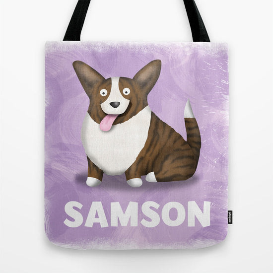 Personalized Brindle Cardigan Welsh Corgi Tote Bag - My Dog Is My Co-Pilot