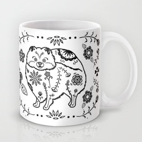 Sugar Skull Pomeranian Mug - B&W - My Dog Is My Co-Pilot