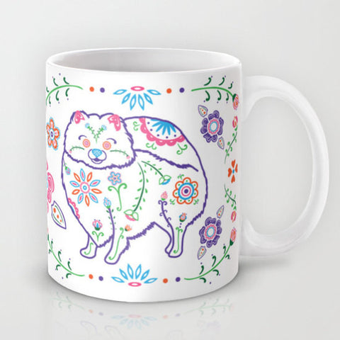 Sugar Skull Pomeranian Mug - Color - My Dog Is My Co-Pilot