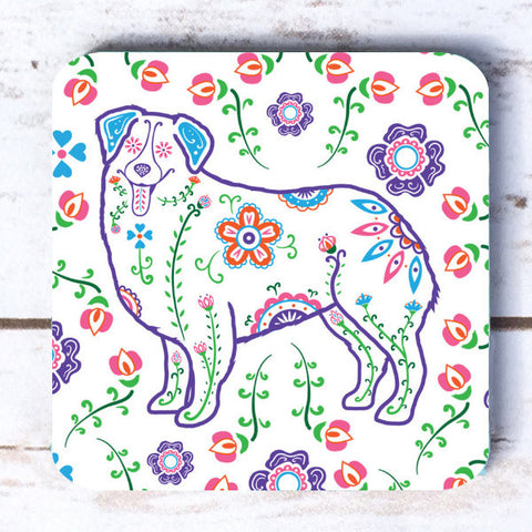 Sugar Skull Australian Shepherd Coasters - My Dog Is My Co-Pilot