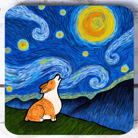 Starry Baroo Corgi Coasters - Set of 4 - My Dog Is My Co-Pilot
