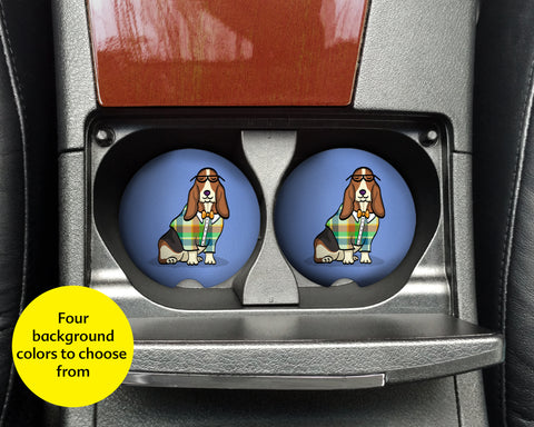 Basset Hound Car Coasters - Sandstone car coasters - Set of 2