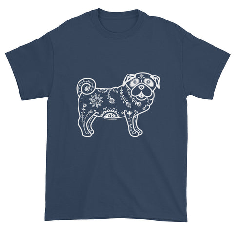 Men's White Sugar Skull Pug -  Short Sleeve T-shirt