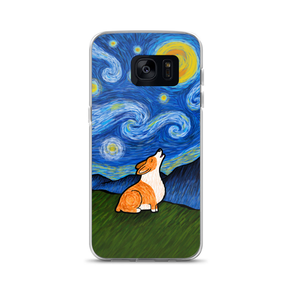 Starry Baroo Corgi Samsung Phone Case - Red Pem