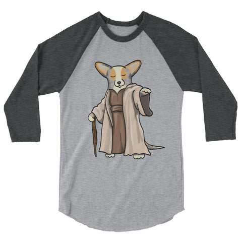 "Merle/Tan with TAIL Corgi ""Yoda"" Shirt - 3/4 sleeve raglan shirt"