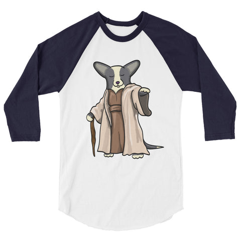 "Black/White with TAIL Corgi ""Yoda"" Shirt - 3/4 sleeve raglan shirt"